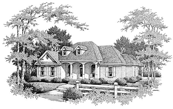 European House Plan 96587 Elevation