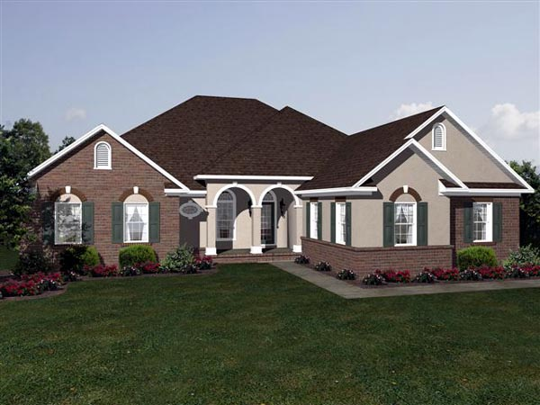 European, One-Story House Plan 96590 with 3 Beds, 2.5 Baths, 2 Car Garage Front Elevation