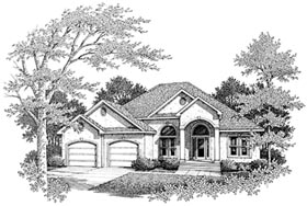 European House Plan 96592 with 3 Beds, 2.5 Baths, 2 Car Garage Elevation