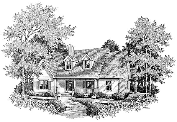 Cape Cod House Plan 96593 with 4 Beds, 3 Baths, 2 Car Garage Elevation