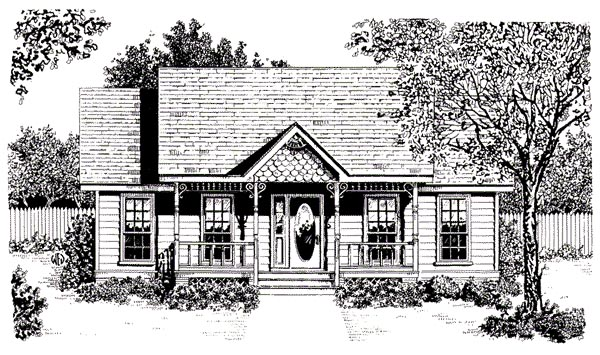 Country, Craftsman, Narrow Lot, One-Story House Plan 96598 with 2 Beds, 1 Baths Elevation