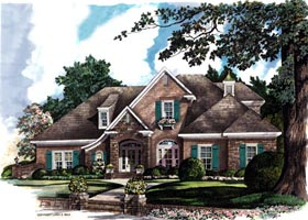 House Plan 96603 | European Tudor Style Plan with 3667 Sq Ft, 4 Bedrooms, 4 Bathrooms, 3 Car Garage Elevation