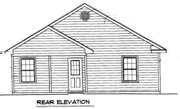 Traditional Rear Elevation of Plan 96702
