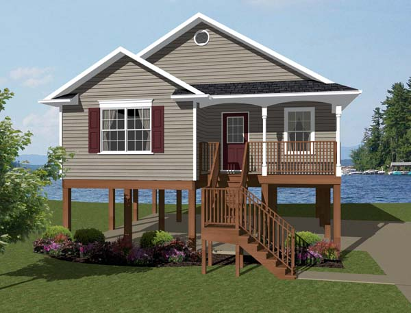 Coastal, Southern House Plan 96703 with 2 Beds, 1 Baths Front Elevation