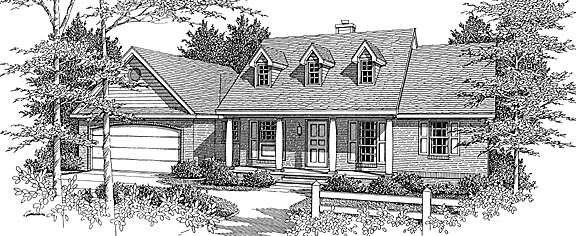 European, Farmhouse House Plan 96708 with 3 Beds, 2 Baths, 2 Car Garage Front Elevation