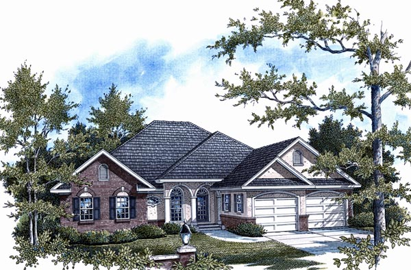 European, One-Story House Plan 96710 with 3 Beds, 3 Baths, 2 Car Garage Elevation