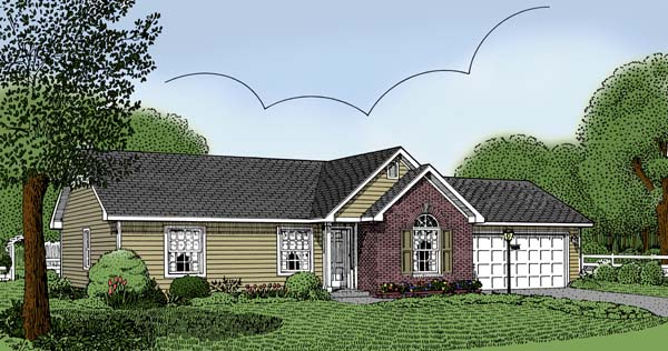 Ranch House Plan 96801 with 3 Beds, 2 Baths, 2 Car Garage Elevation