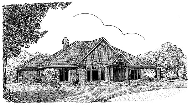 European House Plan 96812 Elevation