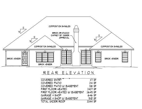 European House Plan 96813 Rear Elevation