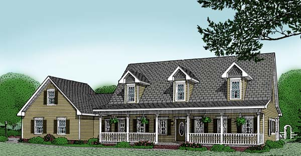 Cape Cod Country Southern House Plan 96814 Elevation