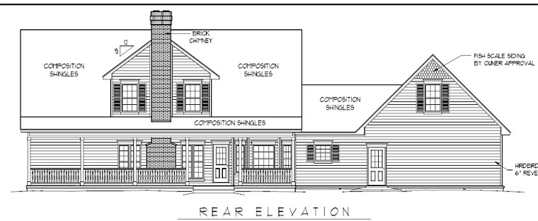Cape Cod Country Southern House Plan 96814 Rear Elevation