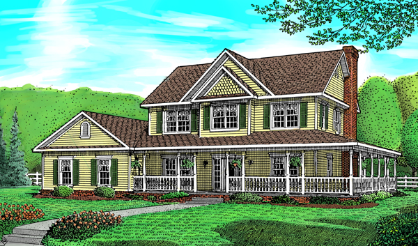 Country Farmhouse House Plan 96815 Elevation