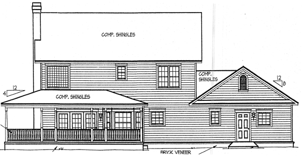 Country Farmhouse House Plan 96815 Rear Elevation