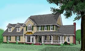 Farmhouse House Plan 96818 with 4 Beds, 5 Baths, 2 Car Garage Elevation