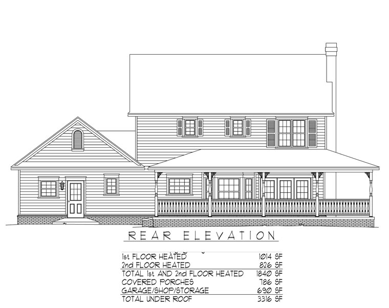 Country Farmhouse House Plan 96819 Rear Elevation