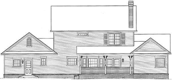 Country, Farmhouse, Southern House Plan 96820 with 4 Beds, 3 Baths Rear Elevation