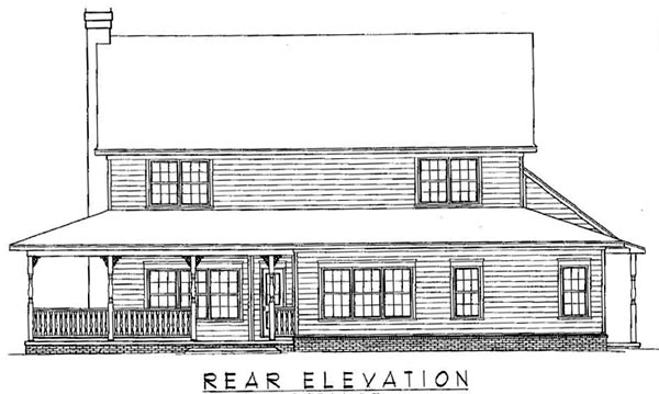 Country Traditional House Plan 96822 Rear Elevation