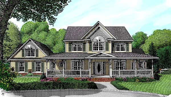 Country, Farmhouse House Plan 96823 with 4 Beds, 3 Baths, 2 Car Garage Elevation