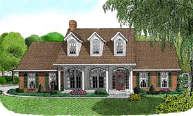 House Plan 96824 | Country Style Plan with 1698 Sq Ft, 3 Bedrooms, 3 Bathrooms, 2 Car Garage Elevation