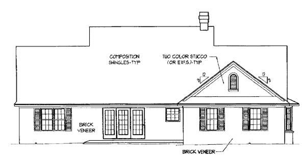 House Plan 96824 | Country Style Plan with 1698 Sq Ft, 3 Bedrooms, 3 Bathrooms, 2 Car Garage Rear Elevation