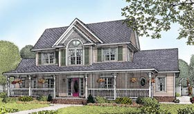 House Plan 96826 | Country Farmhouse Style Plan with 2433 Sq Ft, 4 Bedrooms, 3 Bathrooms, 2 Car Garage Elevation