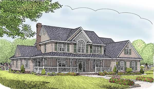 Country Farmhouse House Plan 96828 Elevation