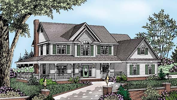 Country Farmhouse House Plan 96829 Elevation