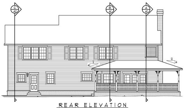 Country Farmhouse House Plan 96829 Rear Elevation