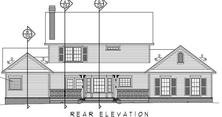 Country Farmhouse House Plan 96833 Rear Elevation