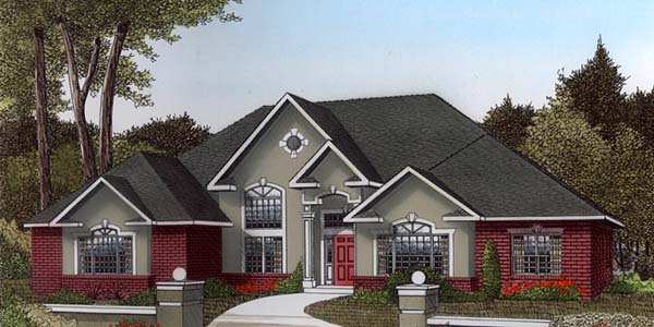 European , Tudor House Plan 96836 with 3 Beds, 2 Baths, 2 Car Garage Elevation