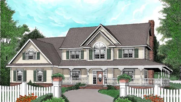 House Plan 96838 | Country Farmhouse Style Plan with 2579 Sq Ft, 4 Bedrooms, 3 Bathrooms, 3 Car Garage Elevation
