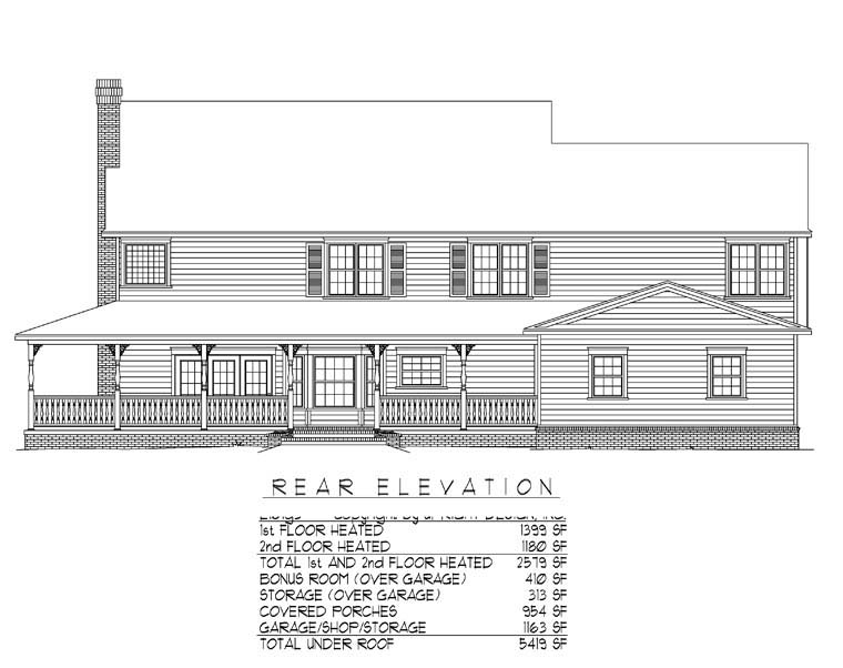 House Plan 96838 | Country Farmhouse Style Plan with 2579 Sq Ft, 4 Bedrooms, 3 Bathrooms, 3 Car Garage Rear Elevation