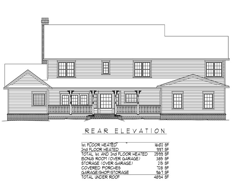 Country Farmhouse House Plan 96839 Rear Elevation