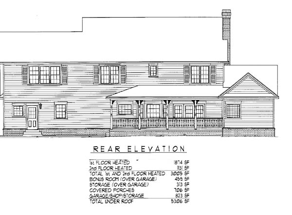 Country Farmhouse House Plan 96840 Rear Elevation