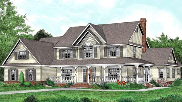 Country, Farmhouse House Plan 96841 with 5 Beds, 3 Baths, 3 Car Garage Elevation