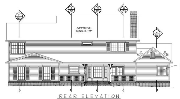 Country Farmhouse House Plan 96863 Rear Elevation