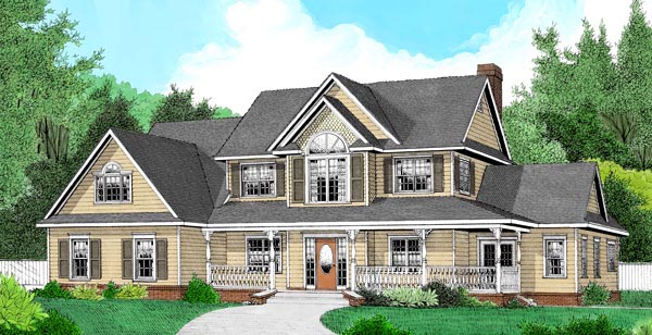 Country , Farmhouse House Plan 96865 with 4 Beds, 3 Baths, 2 Car Garage Elevation