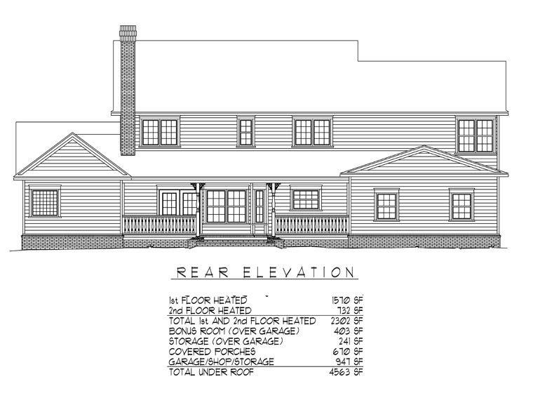 Country , Farmhouse House Plan 96865 with 4 Beds, 3 Baths, 2 Car Garage Rear Elevation