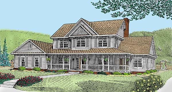 Country , Farmhouse , Elevation of Plan 96870