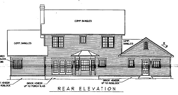 Country , Farmhouse , Rear Elevation of Plan 96870