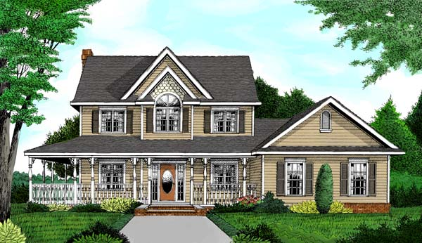 Country, Farmhouse House Plan 96873 with 4 Beds, 4 Baths, 2 Car Garage Elevation