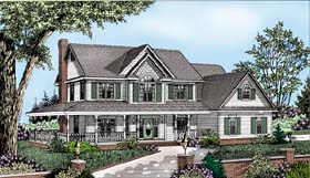 House Plan 96875 | Country Farmhouse Style Plan with 2583 Sq Ft, 4 Bedrooms, 3 Bathrooms, 3 Car Garage Elevation