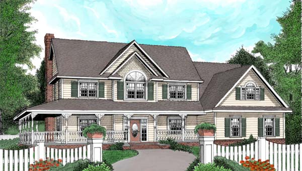 Country Farmhouse Victorian House Plan 96878 Elevation