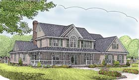 Farmhouse , Country House Plan 96879 with 5 Beds, 3 Baths, 2 Car Garage Elevation