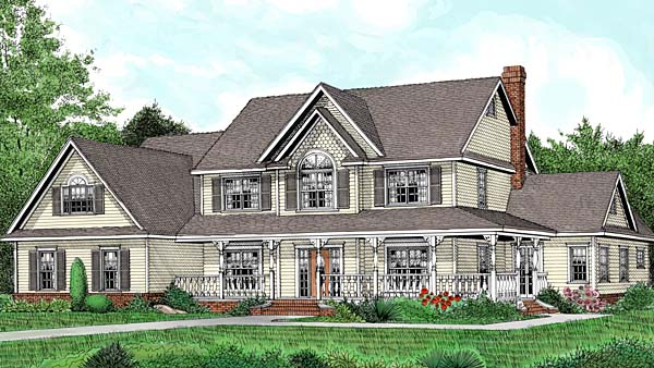 Traditional , Farmhouse , Country House Plan 96880 with 5 Beds, 3 Baths, 3 Car Garage Elevation