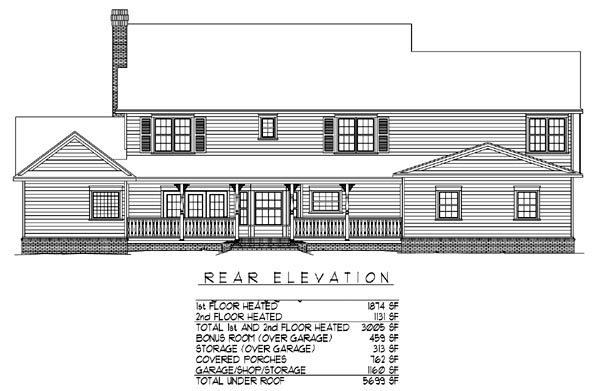 Traditional , Farmhouse , Country House Plan 96880 with 5 Beds, 3 Baths, 3 Car Garage Rear Elevation