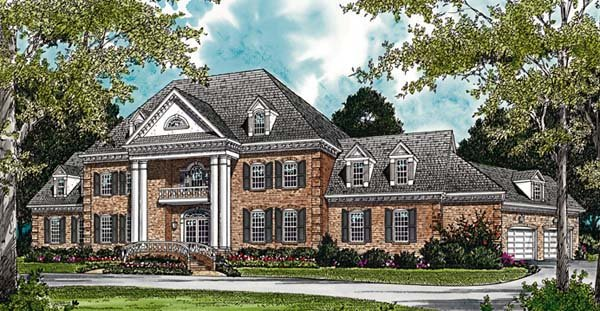 Colonial House Plan 96904 with 4 Beds, 9 Baths, 3 Car Garage Elevation