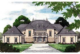 European House Plan 96913 with 5 Beds, 7 Baths, 4 Car Garage Elevation