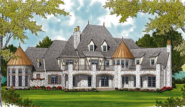 House Plan 96916 | Country European Style Plan with 8933 Sq Ft, 7 Bedrooms, 8 Bathrooms, 3 Car Garage Rear Elevation
