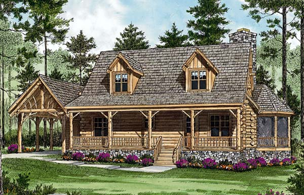 House Plan 96945 | Cottage Style Plan with 1762 Sq Ft, 2 Bedrooms, 2 Bathrooms, 1 Car Garage Elevation